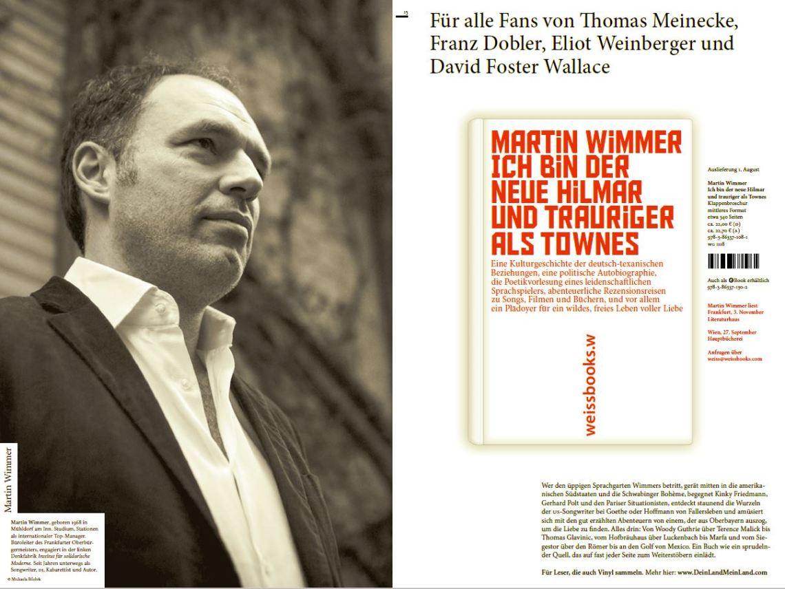 Martin Wimmer, Ich bin der neue Himar und trauriger als Townes. 22,00 Euro.ISBN: 3863371089